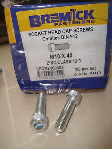 Socket Head Cap Screws lot of 25  #M10 (10mm) x 40mm Zinc Plated 12.9 Free Post