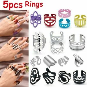 5pcs/Set Thumb Knuckle Open Ring Band Stacking Midi Toe Finger Women Men Gift