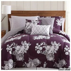 Macy's Peony Garden Floral 12-Pc. King Bedding Set Purple NEW NWT 249.00