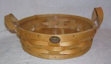 "Peterboro 13"" Round Server Basket with Leather Handles and Liner - Honey Finish"