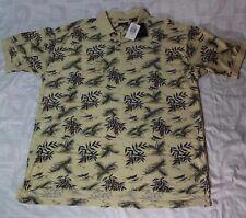 IZOD Men's Polo Shirt X-LARGE Tropical Tan Hawaiian Cotton Shirt  NWT