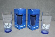 Pair Of Budweiser Bud Light Pint Glass 20oz Blue Base Nucleated 2017 Box Two 2