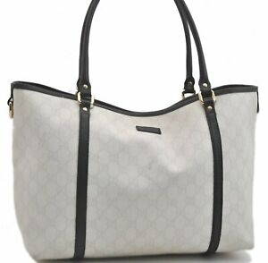 Authentic GUCCI Tote Bag GG PVC Leather White Black B2718