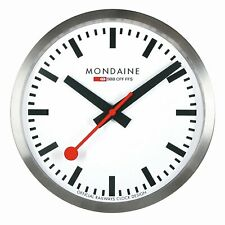 MONDAINE A990.CLOCK.16SBB Wall Clock Swiss Railway  Silver/White, Diameter 25cm