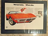 "1970 Chevrolet Corvette centerfold*Original*car print ""Ready to Display"" ad gift"