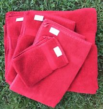TALESMA CLASSIC CARDINAL RED TURKISH TOWEL SET BATH SHEET HAND TOWEL BATH MAT +