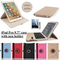 360° Rotating Leather Smart folio Case cover+Bluetooth keyboard For iPad Pro 9.7