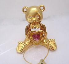 Figurine--TEDDY BEAR WITH HEART- 24K gold plated-Austrian -red crystal