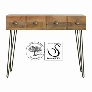 Solid Wood 4 Drawers Console Table with Iron Legs