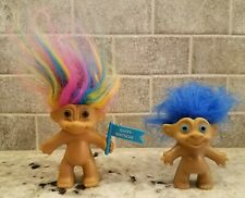 "Vntg Troll dolls 3.5"" RUSS Rainbow Hair Birthday Flag and 3"" Blue hair LOT OF 2"