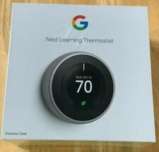 New Google Nest Learning Thermostat 3rd Gen Stainless Steel T3007ES  Sealed