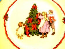 Fitz & Floyd Victorian Christmas Plate Decorating The Tree 1982 Vintage Japan