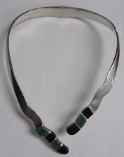 Sterling Silver Malachite Onyx Necklace Hinge Cuff Mexico #SHLF-MC52