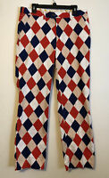 Loudmouth Golf Pants Mens Size 36x32 Red Blue Pink White Argyle Print