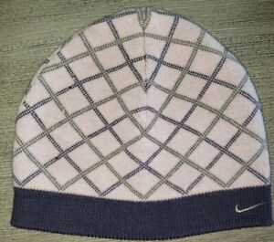 womens REVERSIBLE PINK BLUE KNIT winter hat beanie by NIKE one size fits most