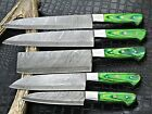 Handmade Damascus Steel With Green Wood Handles Kitchen Knives Set FR-20021104