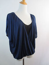 GUESS BY MARCIANO WOMENS S SMALL BLACK BLUE 2IN1 TOP OVERLAY RUCHING SHIRT