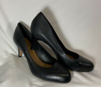 Clarks Women's Black Leather Soft Cushion Pumps High Heel Shoes Size 11M New