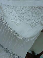 4 x V Large Tea Towels Serving Cloth Victorian Antique Vintage Tassel Lace White
