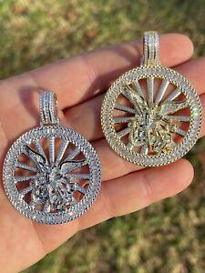 Real 925 Silver St Michael Archangel Necklace Pendant Iced Baguette Medallion