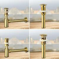 Brushed Gold Bathroom Basin Waste P-Traps Pop Up With Overflow Bottle Drain Kits