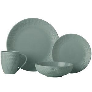 16pc Casa Domani Corallo Porcelain Coupe Bowl/Mug/Side/Dinner Plate Set Green