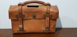 Antique Tooled Leather Satchel Briefcase Backpack