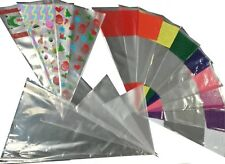 Party Cones Clear & Coloured Cello Bags for Kids Birthday Gifts Sweets or Treats