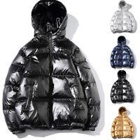 Winter Men's Hooded Shiny Cotton Padded Jacket Bubble Puffer  Warm Outwear Coat