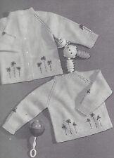 Vintage Knitting PATTERN to make Baby Raglan Crewneck Sweaters Cardigan Pullover