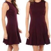 NWT $310 Nicole Miller Women's Medium Burgundy Stretch Tank Flare Sheath Dress