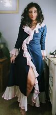 Vintage 1950's 1960's 1970's Navy Blue & Pink Tailored House Coat Robe Peignoir