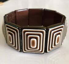 Vintage Lea Stein Plastic Bracelet Brown & White Stretch