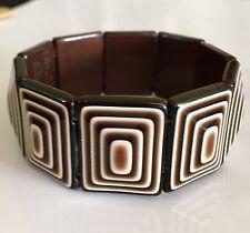 Vintage Léa Stein Plastic Bracelet Brown & White Stretch