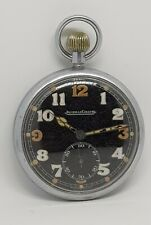 Jeager Lecoultre military pocket watch black face circa 1940