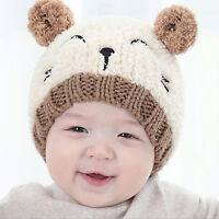 Baby Toddler Boys Girls Winter Warm Hat Beanie Hooded Earflap Knitted Cap