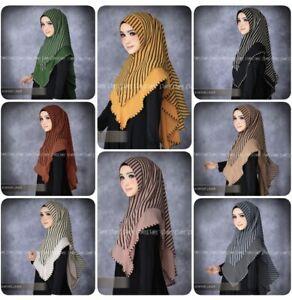 Striped Khimar Instant Hijab One Piece Pinless Slip On Scarf  Long Jilbab Abaya
