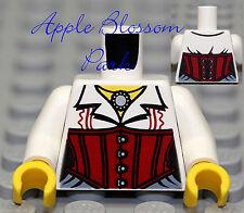 Lego Female White Minifig Torso - Girl Minifigure Shirt W/red Corset Upper