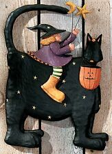 WITCH Riding a CAT Wall Decoration - Williraye - 6024 - New in Box
