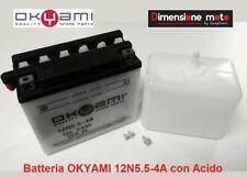 "Batteria ""OKYAMI"" 12N5.5-4A 12V-6Ah con Acido per CAGIVA Roadster 125 dal 1994"