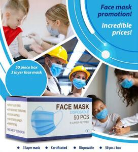 50x Atemschutz-Masken Mundschutz-Masken 3 Lagig Einwegmaske OP-Maske