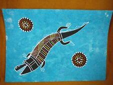 AUS-16 Crocodile teal Australian Native Aboriginal PAINTING Artwork T Morgan