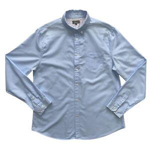 Linea Mens Powder Blue Cotton Long Sleeve Oxford Shirt Size L