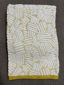 West Elm Organic Dashed Lines Sculpted Bath Towel, Dark Horseradish White NEW