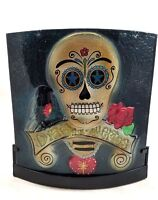 DAY OF THE DEAD Glass CANDLE HOLDER Dia De Los Muertos Halloween New