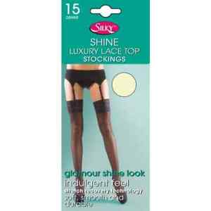 Super Shine Lace Top Stockings by Silky 15 Denier Glossy Various Colours