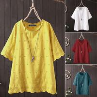 ZANZEA 8-24 Women Short Sleeve Summer Floral Top Tee Shirt Hollow Eyelet Blouse