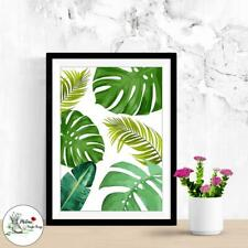 Botanical Monstera Print Leaf Fern Plant Picture Prints Wall Art Size A4 or A3