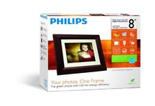 "Philips SPF3482 Home Essentials Digital PhotoFrame 8"" LCD Panel Brown Wood Frame"