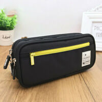 Deli Black Canvas Pen Bag Pencil Case Zipper Cosmetic Travel Large Capacity New